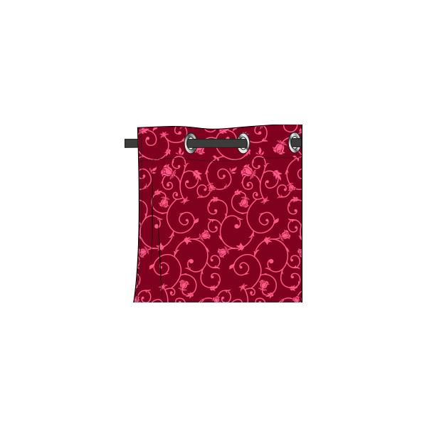 Rideau Motif Rococo Fushia Bonbon - Deco-Tissus dedans Rideau Fushia