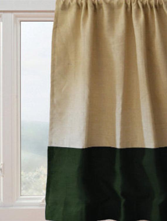 Rideau Panneau Rideaux De Toile De Jute Vert Ivoire   Etsy dedans Rideau En Toile De Jute
