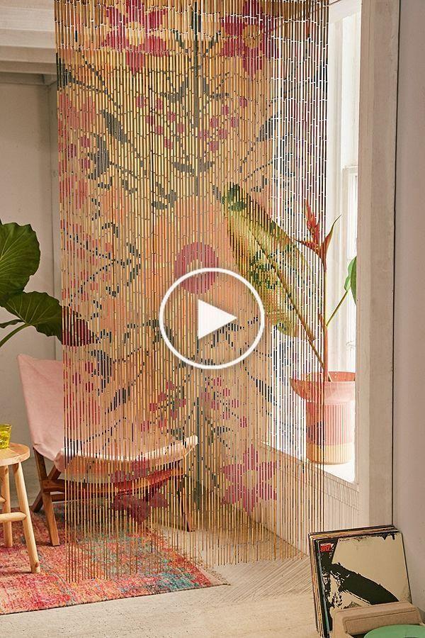 Rideau Perlé Fleuri En Bambou Rosa En 2020 | Rideau Perle intérieur Rideau En Perle