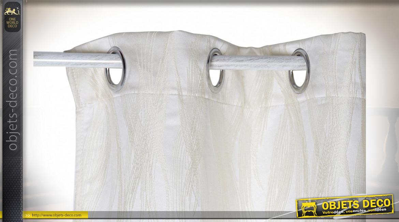 Rideau Polyester 140X270 180 Gsm. Plumes Ivoire pour Rideau Hauteur 180