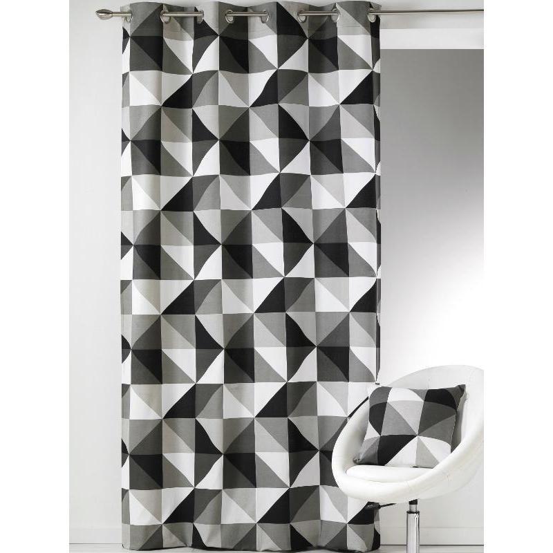 Rideau Prêt-À-Poser À Motifs Graphiques Et Géométriques avec Rideau Gris Noir