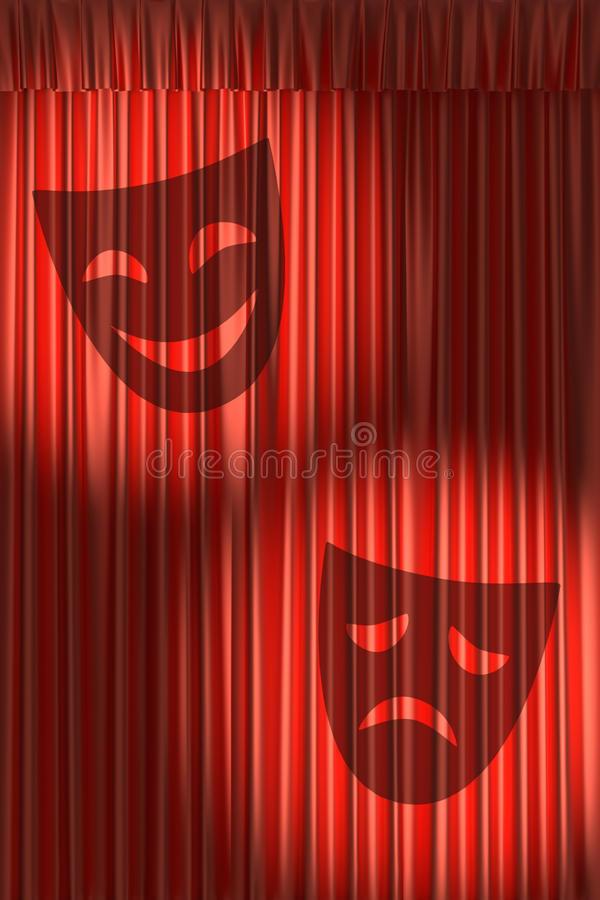 Rideau Rouge En Théâtre Avec L'Ombre Des Masques intérieur Rideau De Theatre