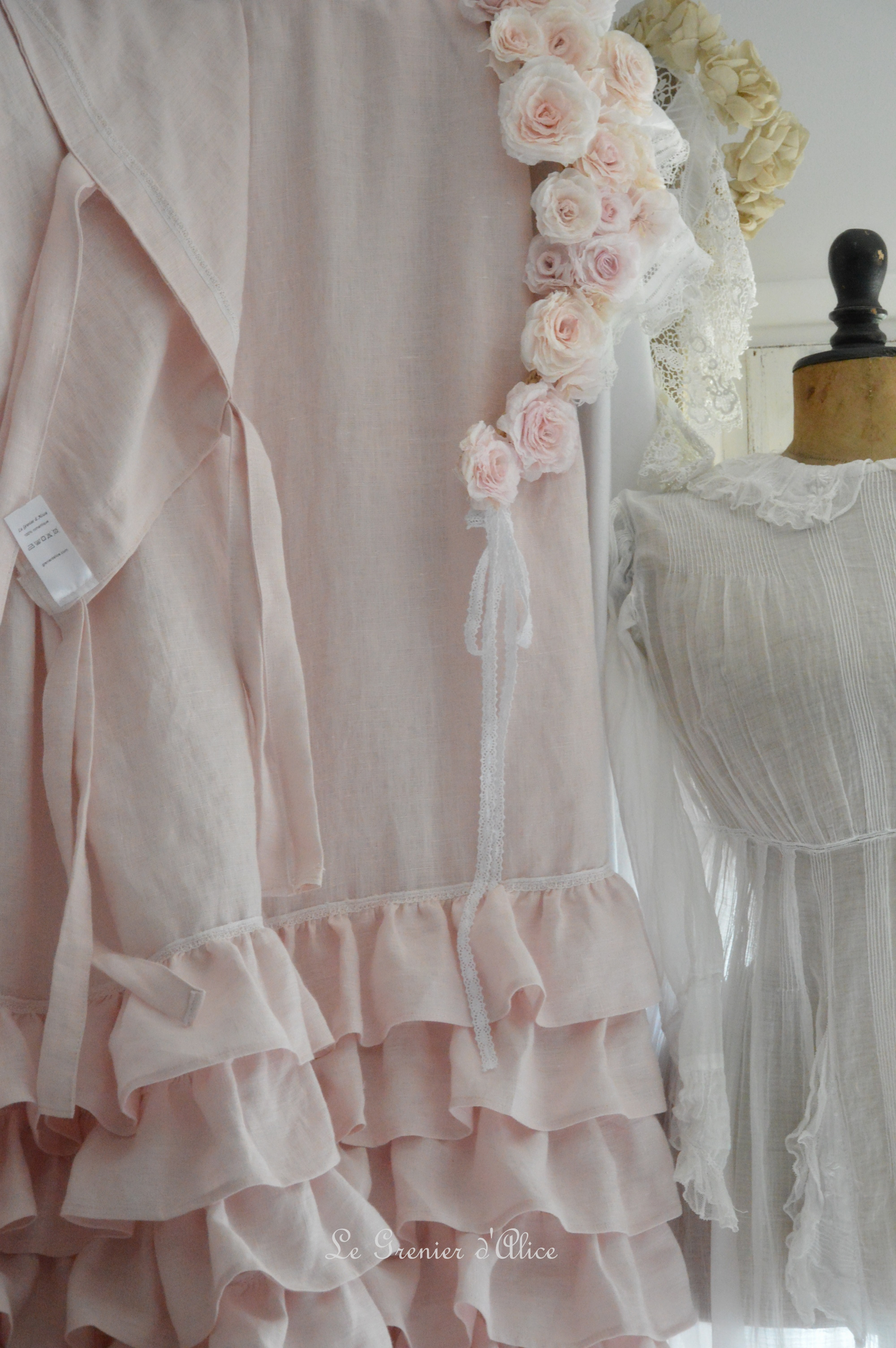 Rideau Shabby Froufrou Rose Poudré | Le Grenier D'Alice intérieur Rideaux Shabby Chic