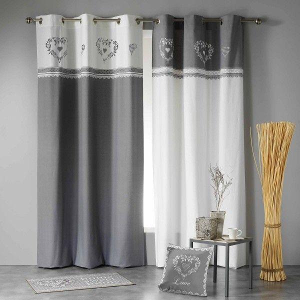 Rideau Tamisant (140 X H240 Cm) Home Love Gris/Blanc pour Rideau Gris Foncé