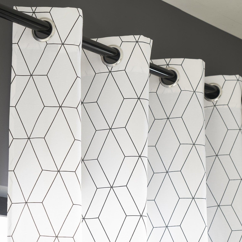 Rideau Tamisant, Alex, Blanc Et Noir, L.140 X H.260 Cm concernant Rideau Forme Geometrique