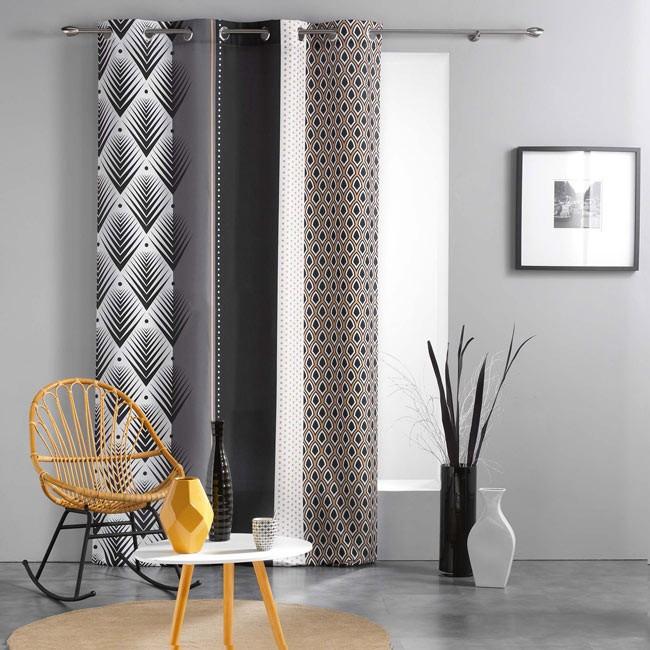 Rideau Tissu Imprimé Géométrique Noir Et Blanc serapportantà Rideau Geometrique