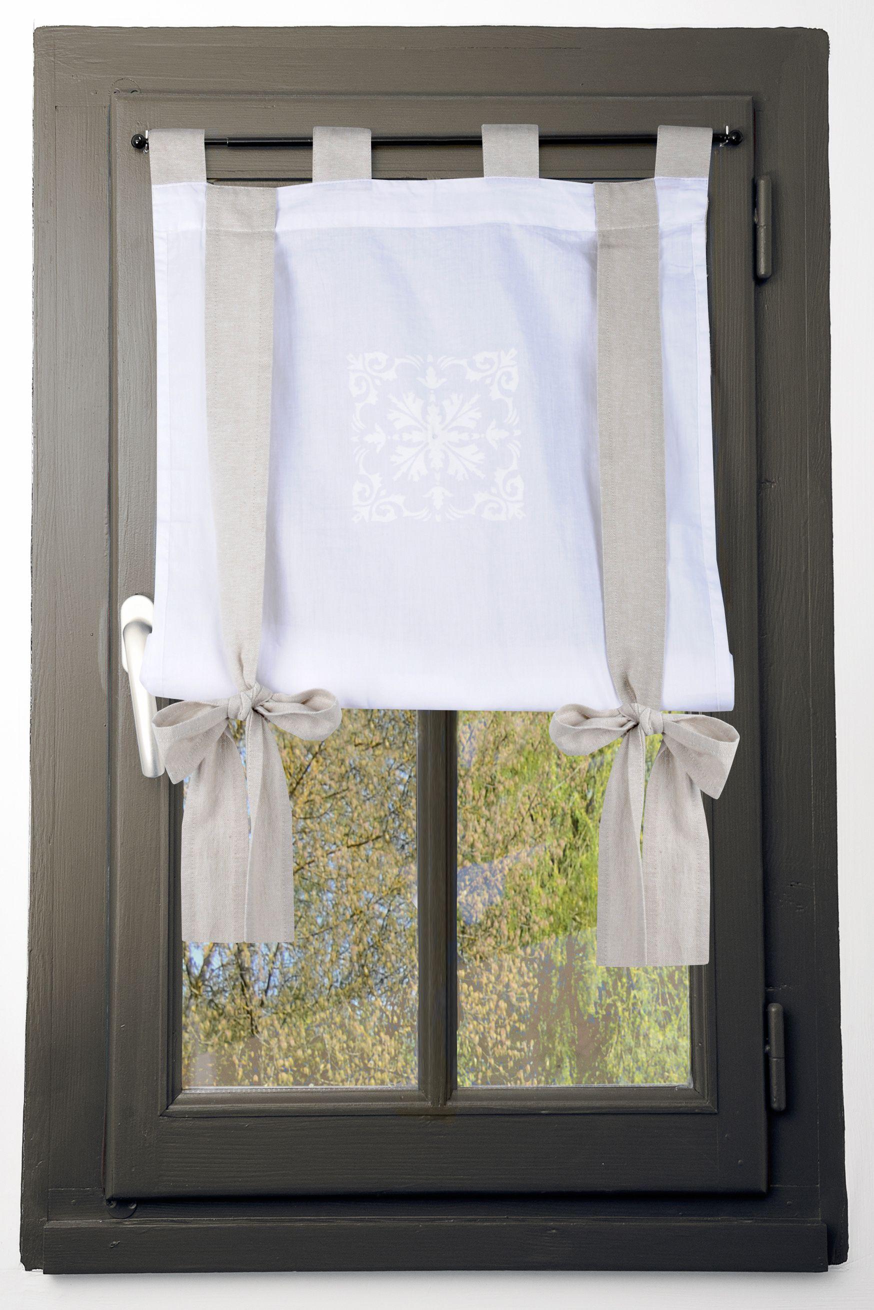 Rideau Vitrage Motif Baroque Blanc Avec Ruban À Nouer destiné Rideau Hauteur 160
