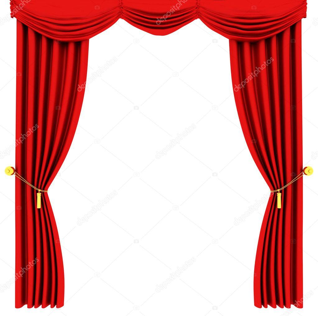 Rideaux De Théâtre Rouge Isolé Sur Blanc — Photographie intérieur Rideau De Theatre