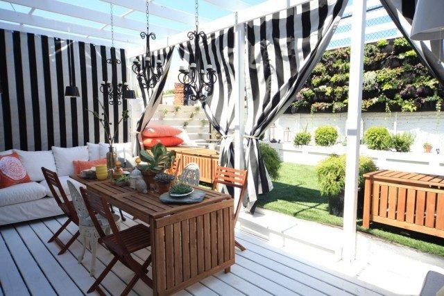 Rideaux Extérieur Sur La Terrasse Pour Plus D'Intimité Et pour Rideau Exterieur Ikea