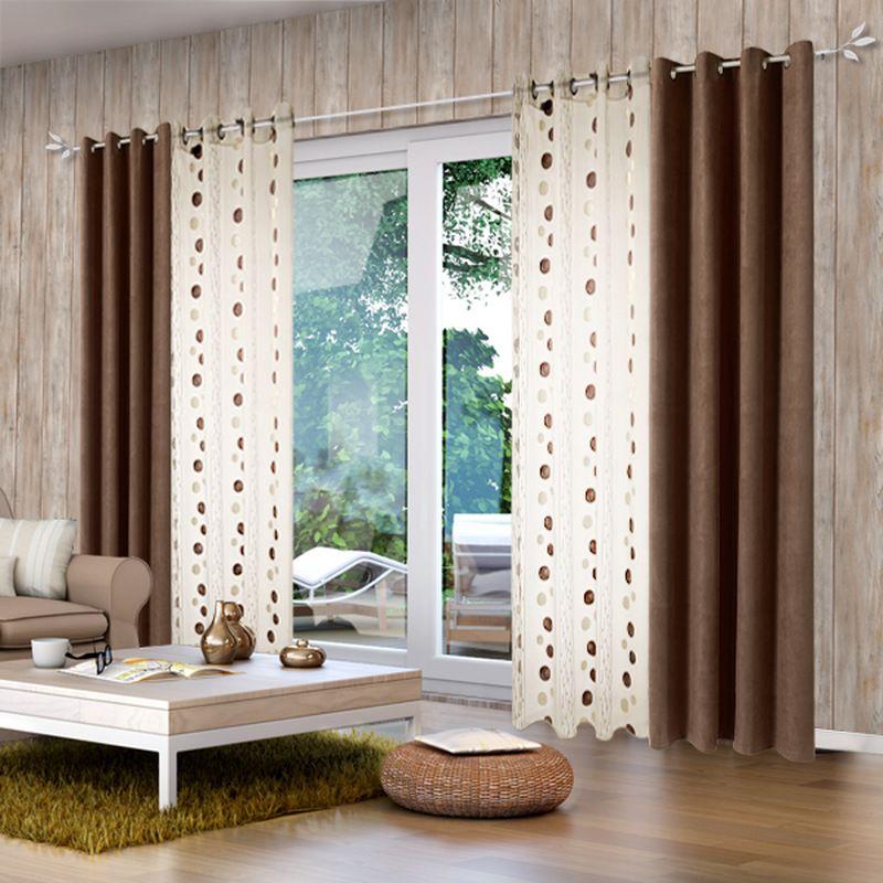Rideaux Salon | Decoration Interieur Salon, Rideaux Salon intérieur Rideau Et Voilage Sur Même Tringle