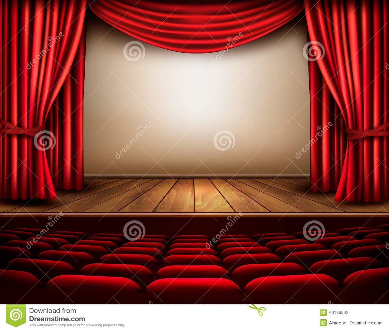 Scène De Cinéma Ou De Théâtre Avec Un Rideau Illustration à Rideau De Scene