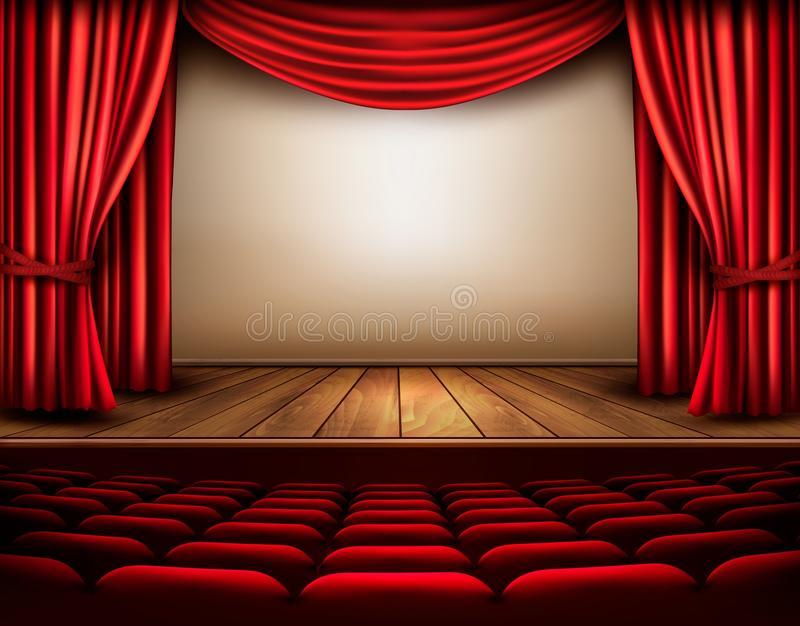 Scène De Cinéma Ou De Théâtre Avec Un Rideau Illustration serapportantà Rideau De Scene