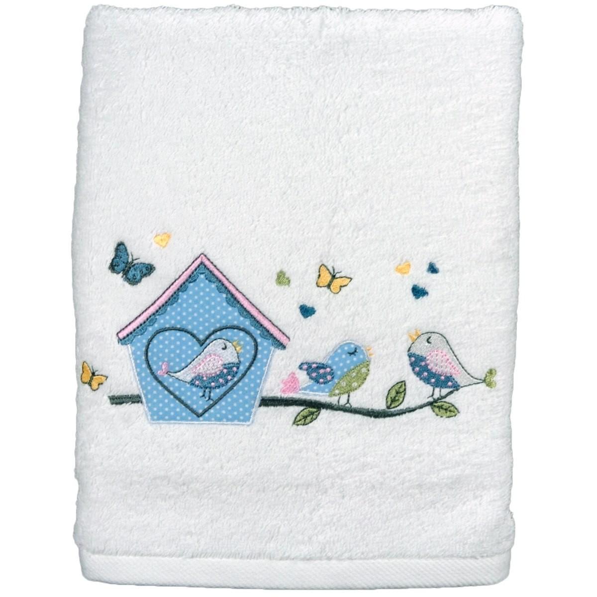 Serviette De Toilette Personnalisée Brodée Lovely Bird avec Serviette De Toilette Personnalisée