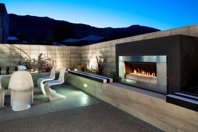 Terrasse Moderne Avec Cheminée | Cheminée Extérieur dedans Cheminée De Terrasse