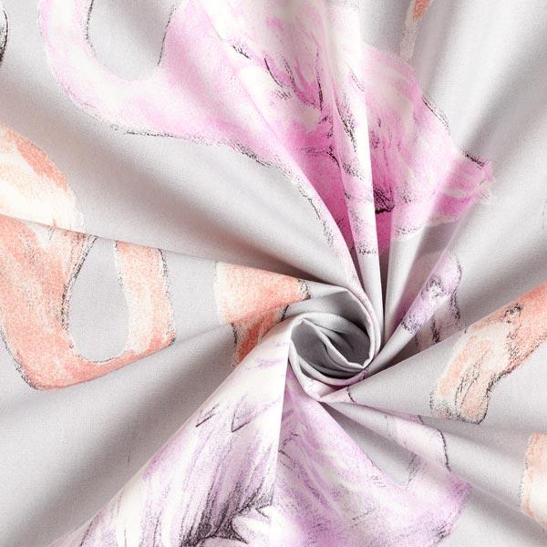 Tissu De Rideau Et De Décoration Flamants Roses – Gris destiné Rideau Flamant Rose