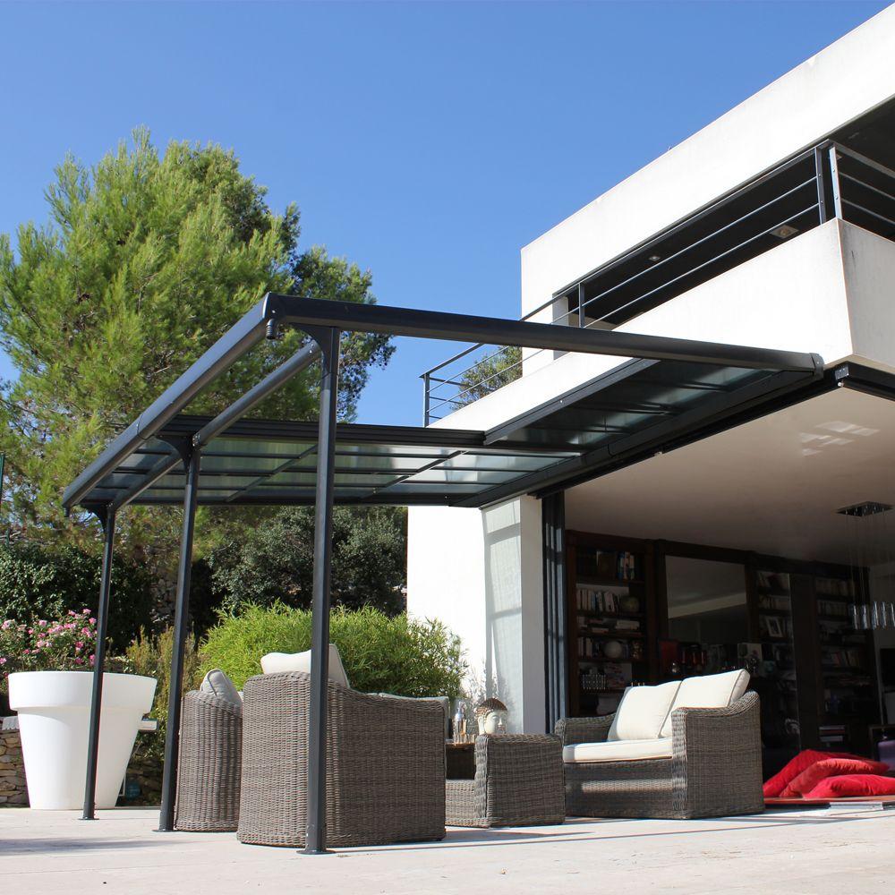 Tonnelle Adossée Aluminium + Toit Polycarbonate 4X3,5M serapportantà Rideau De Tonnelle