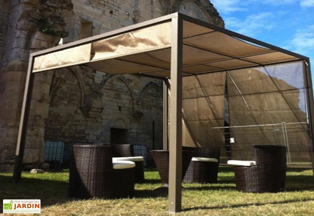 Tonnelle Pergola Aluminium Brise Soleil 3X3 Capuccino encequiconcerne Rideau Exterieur Pour Pergola