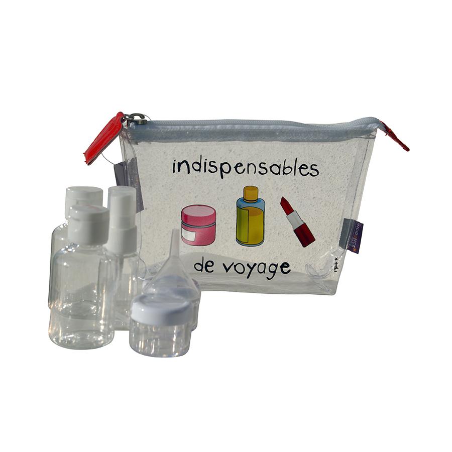 Trousse Avec Flacons-Incidence - La Boutique Du Voyageur concernant Trousse De Toilette Avion Cabine