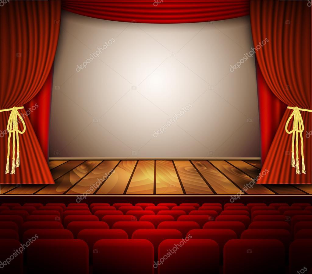 Une Scène De Théâtre Avec Un Rideau Rouge, Sièges — Image tout Rideau De Theatre