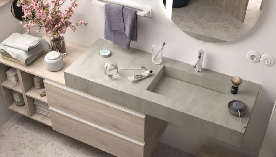 +Vasque Intégrée - Plan De Toilette - Gris - Casalux Home avec Plan De Toilette Sur Mesure