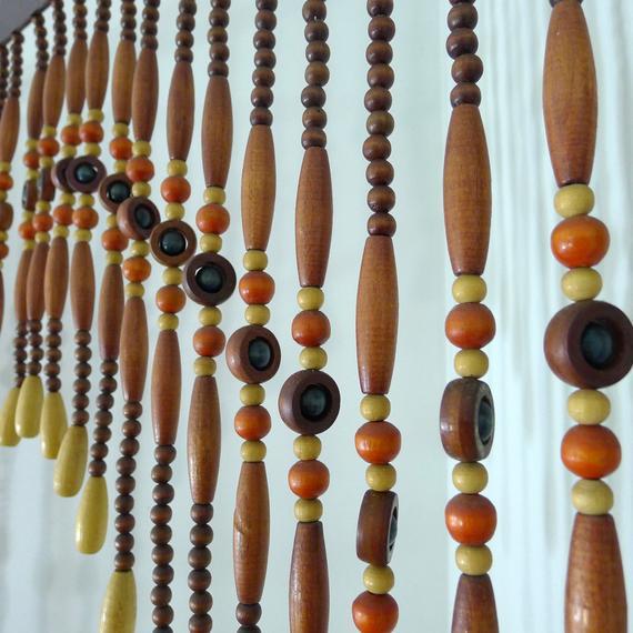 Vintage Perlé Rideau Perles En Bois Paravent Porte Talon serapportantà Rideau De Porte Perles Olives En Bois