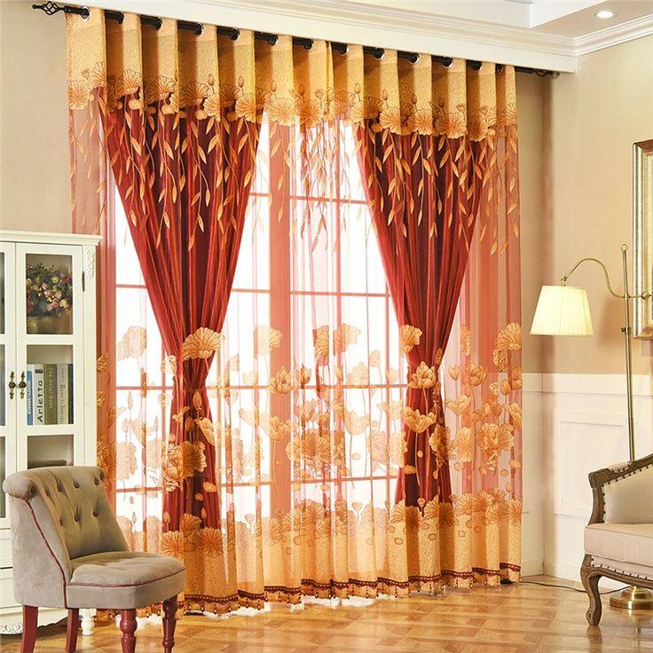 Voilage Jacquard Jaune Lotus Style De Village Américain En dedans Rideaux Jacquard Jaune