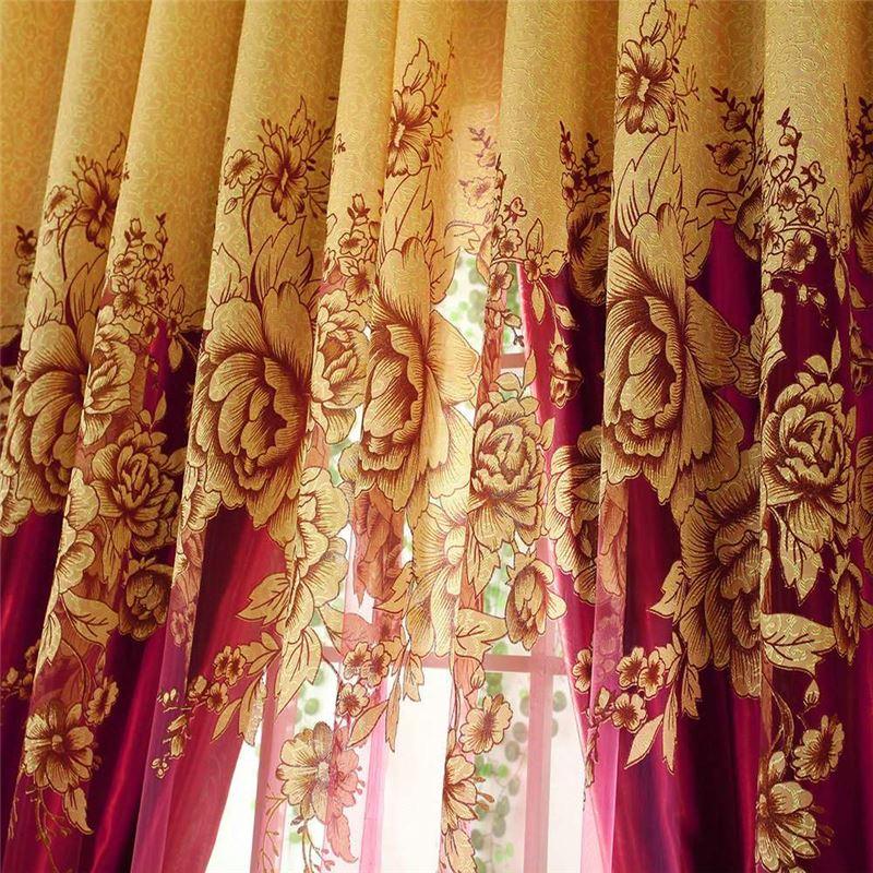 Voilage Jacquard Luxueux Pivoine Jaune Pour Salon Chambre concernant Rideaux Jacquard Jaune