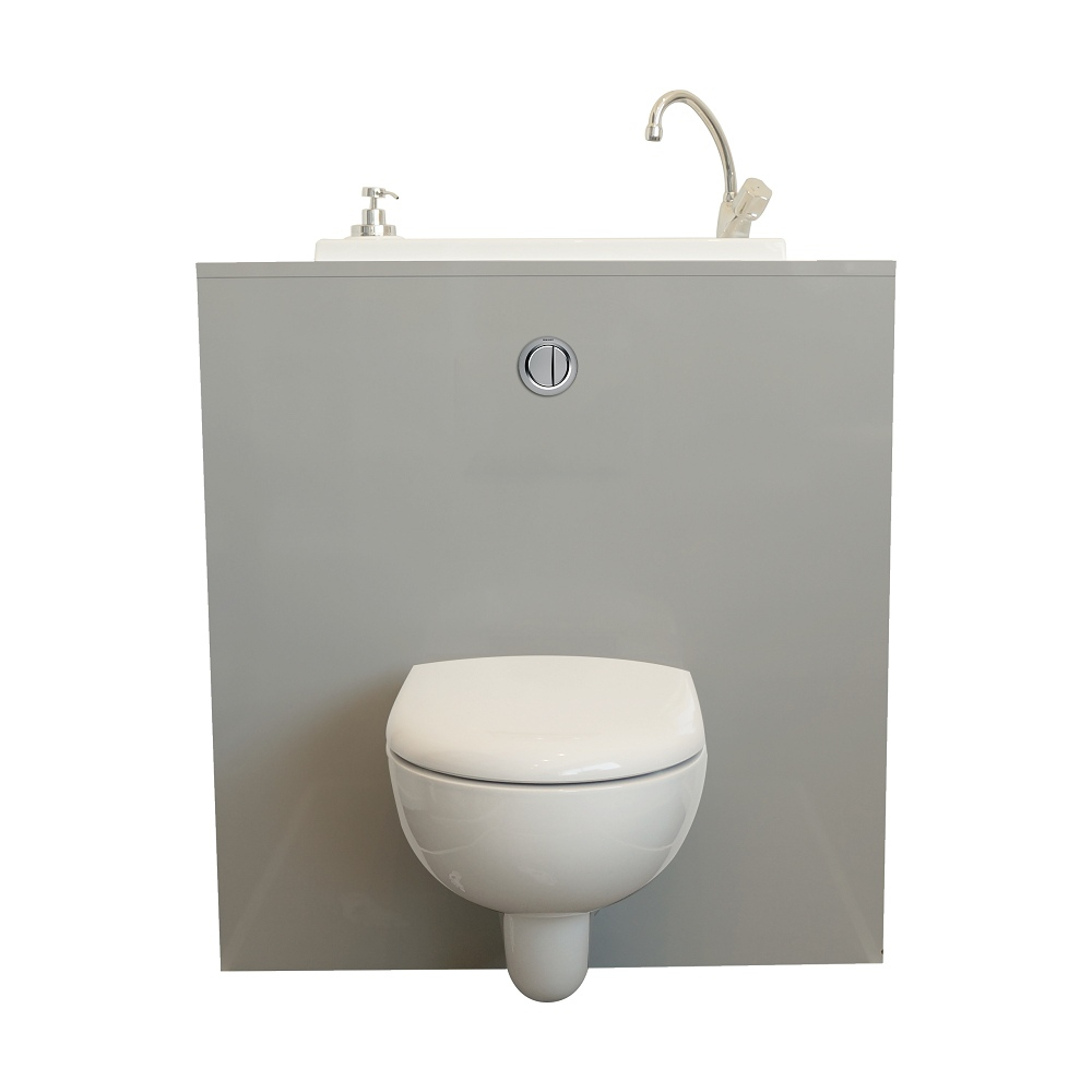 Wall-Hung Toilet With Wici Boxi Washbasin - Mineral | Wici concernant Toilette Suspendu Geberit