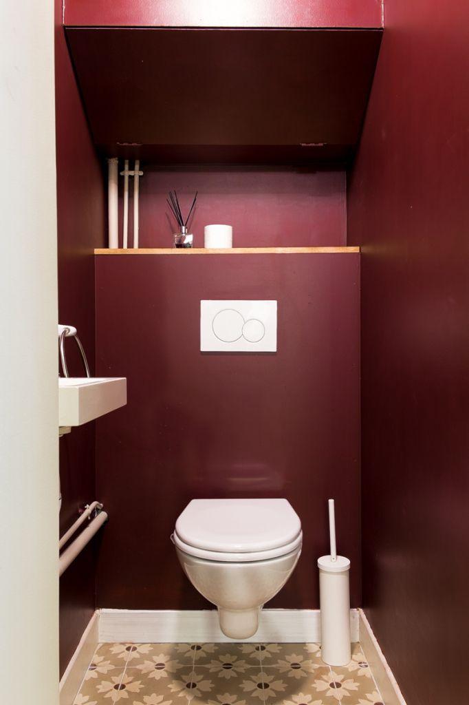 Wc, Carreaux Ciments, Peinture, Bordeaux, Décoration intérieur Toilette Seche Interieur Maison