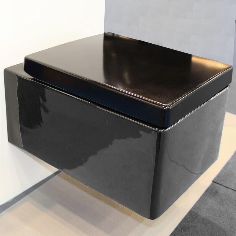 Wc Rectangulaire, Kube - Cuvette Wc Suspendus Noir| Rue Du concernant Toilette Noir Suspendu