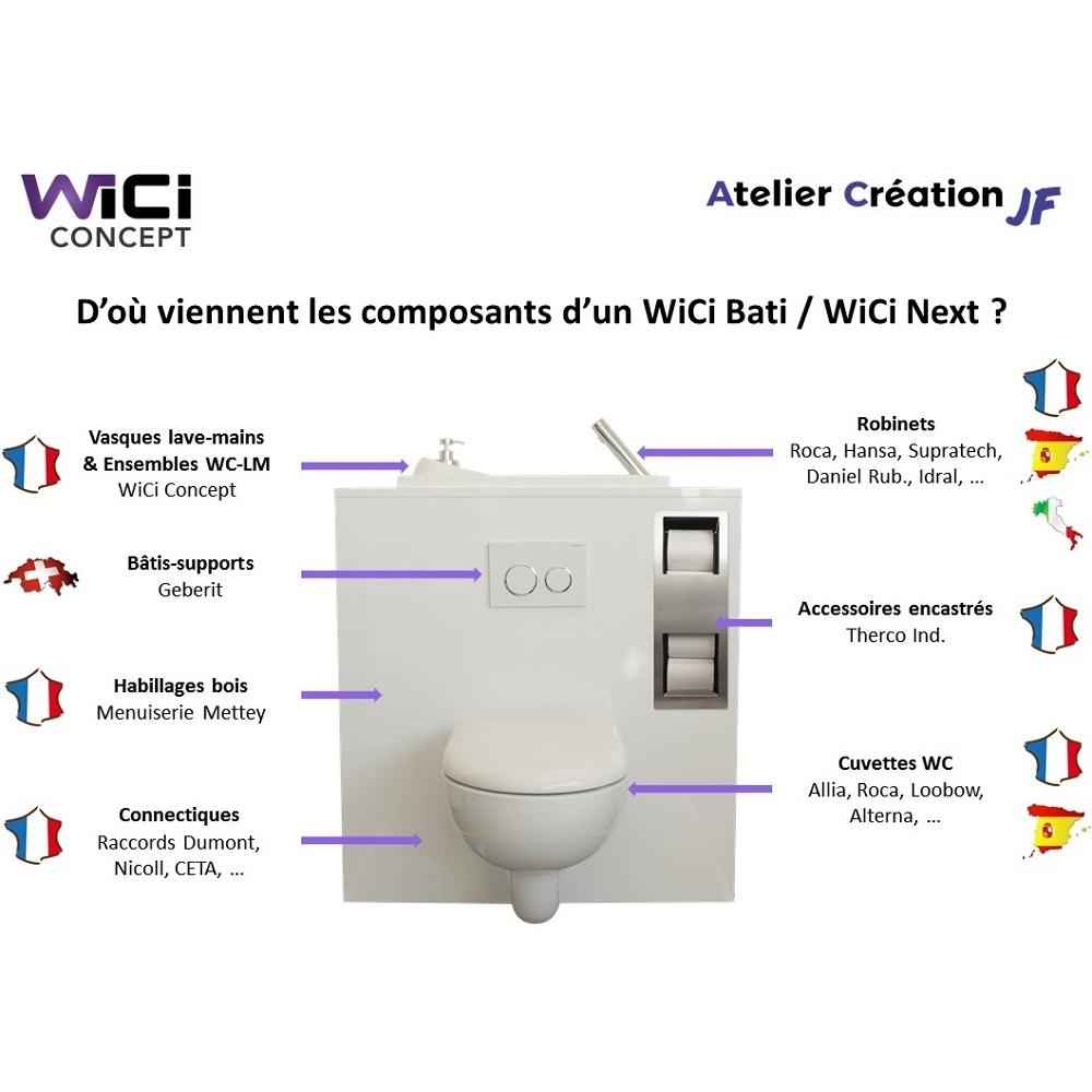 Wc Suspendu Geberit Avec Lave-Mains Wici Bati - Modele Coco intérieur Toilette Suspendu Geberit