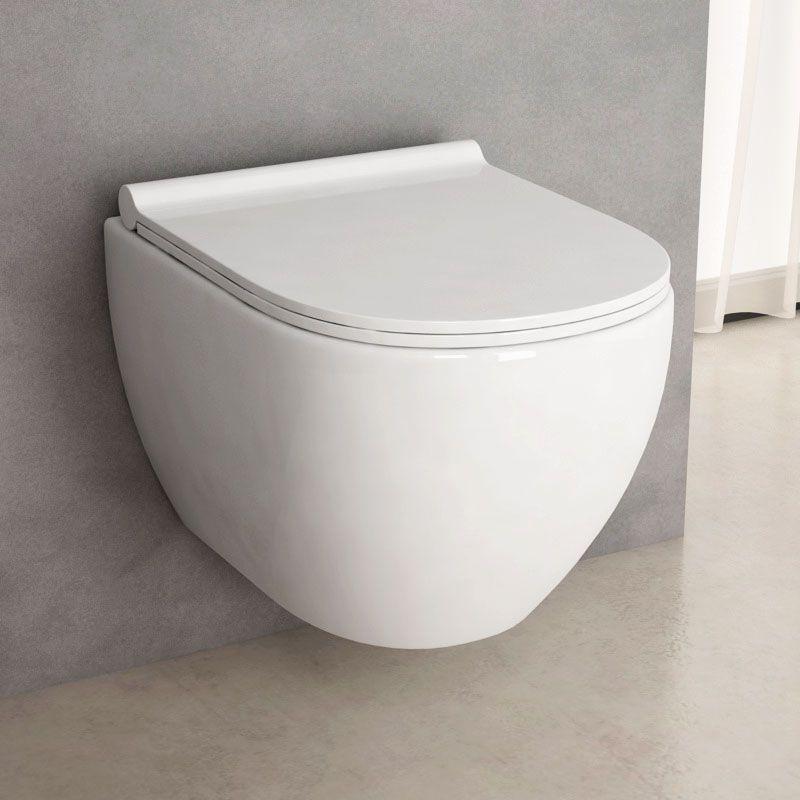 Wc Suspendu Rimless, Nino Compact Blanc 49 Cm + Abattant Slim encequiconcerne Toilette Suspendu Grohe