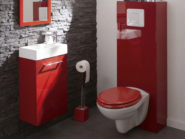 Wc Suspendus, Mur Briques Gris Et Touches De Rouge   Salle tout Toilette Suspendu Leroy Merlin