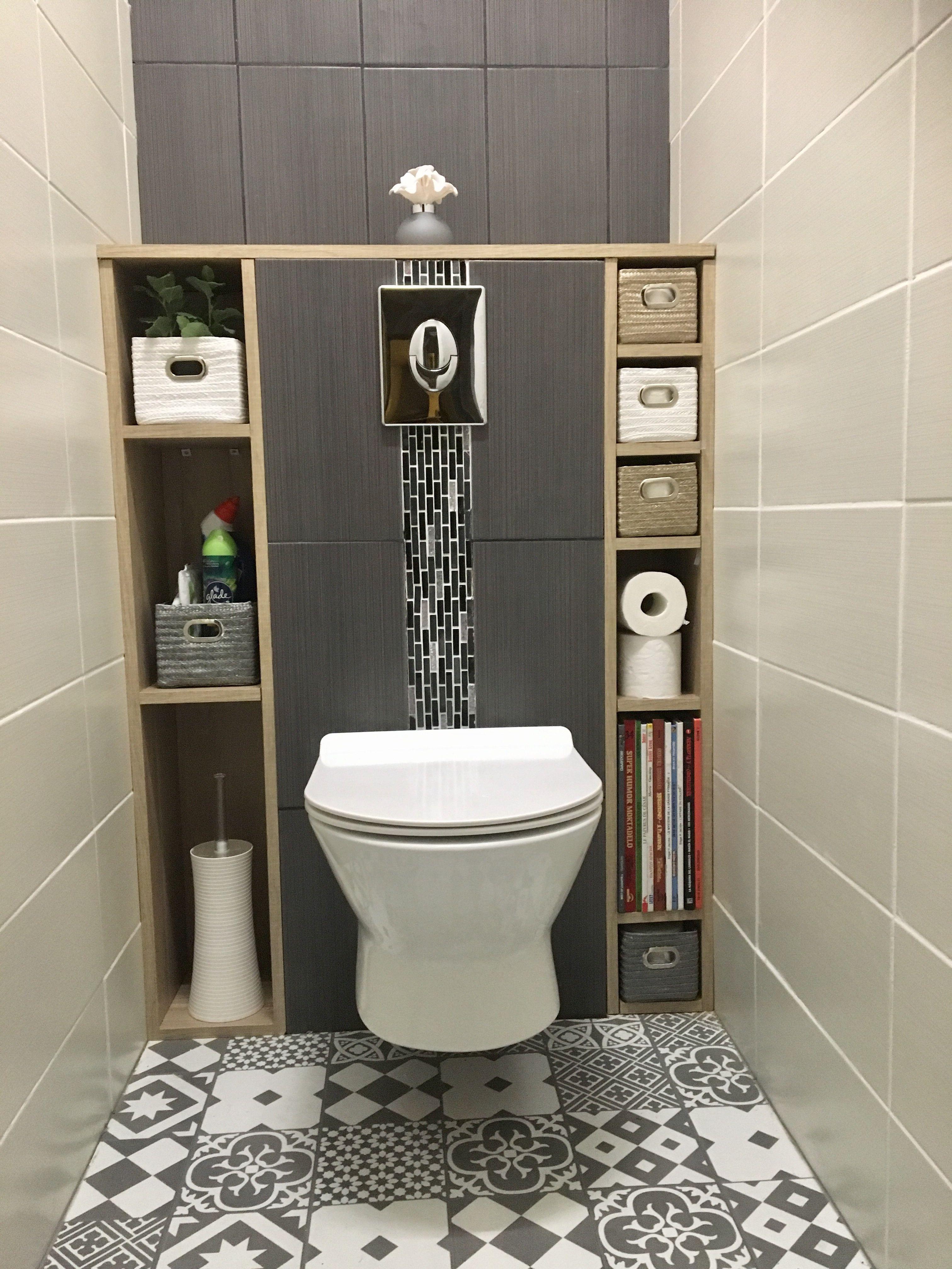 #Wc#Suspendu#Carreaux#Ciment#Blanc#White#Gris#Grey#Tiles# à Toilette Suspendu Leroy Merlin