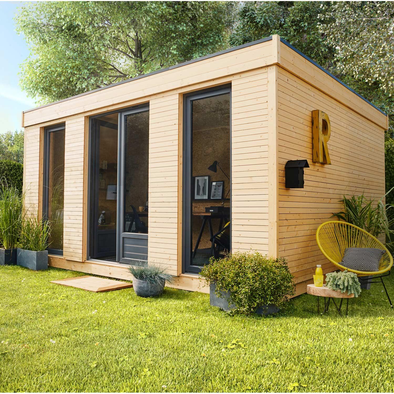 Abri De Jardin Bois Decor Home, 15.25 M² Ep.90 Mm | Leroy destiné Abri De Jardin Adossable 20M2