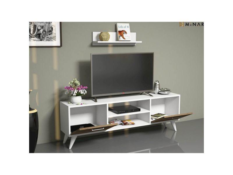 Meuble Tv Avec Etagere Horus 120 X 48 Cm Blanc Et Noix Encequiconcerne Meuble Tv Avec Enceinte Integre Conforama Agencecormierdelauniere Com Agencecormierdelauniere Com