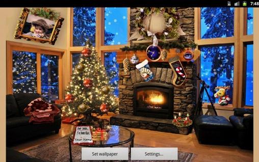 Christmas Fireplace Pour Android À Télécharger intérieur Fond D Écran Cheminée Pour Tv