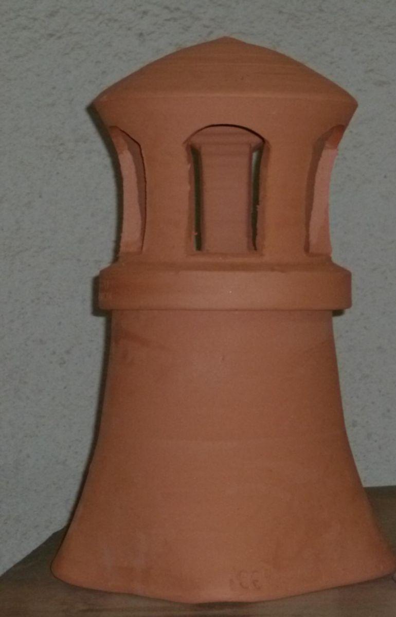 Mitre Avec Collerette - 20X20X33 Cm - Terre Cuite - Jamet destiné Conduit De Cheminée En Terre Cuite