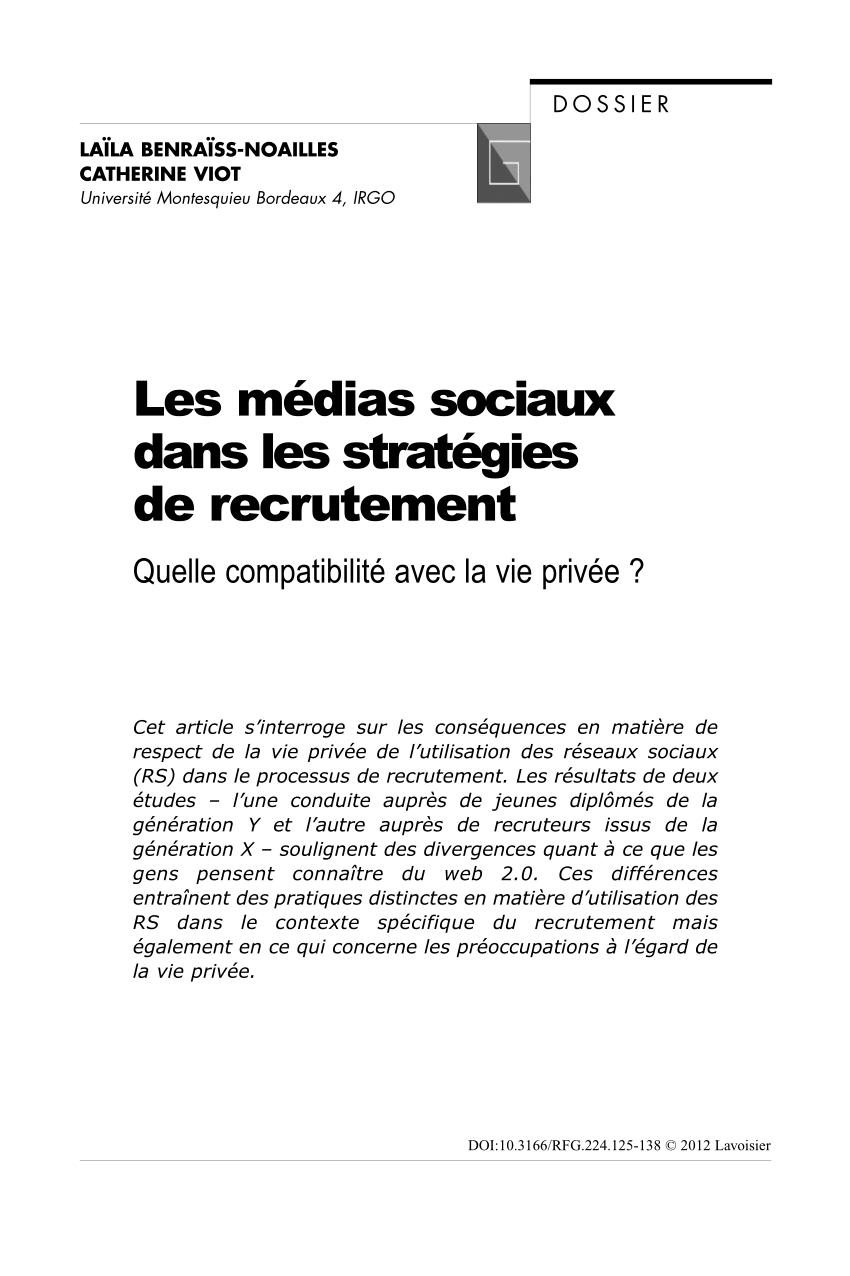 (Pdf) Les Médias Sociaux Dans Les Stratégies De dedans Compatibilité Chemin De Vie