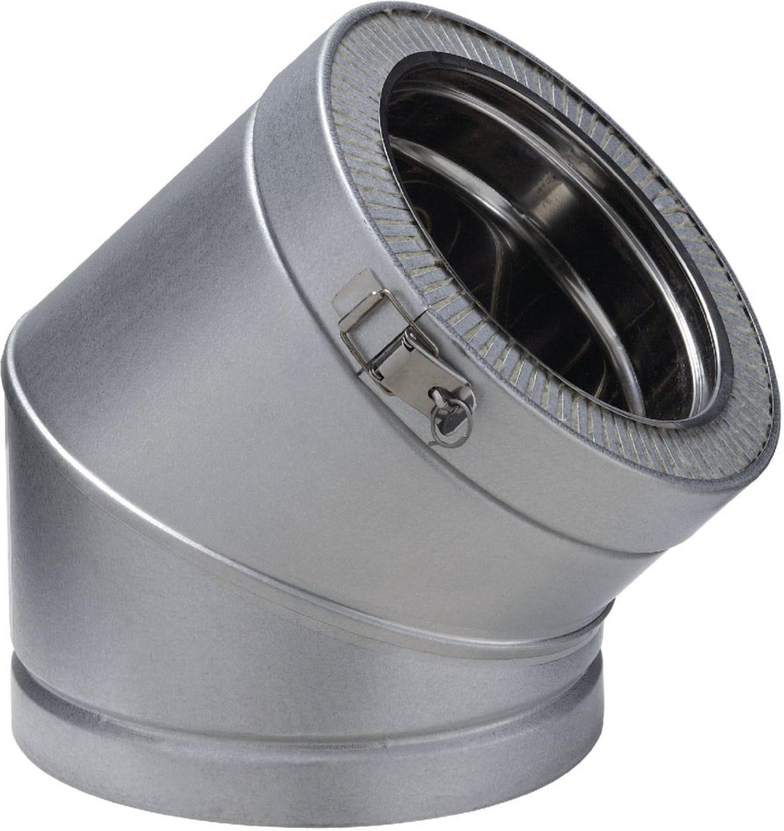 Poujoulat - Coude 45° Double Paroi Pour Conduit De concernant Tube Inox Cheminée Leroy Merlin