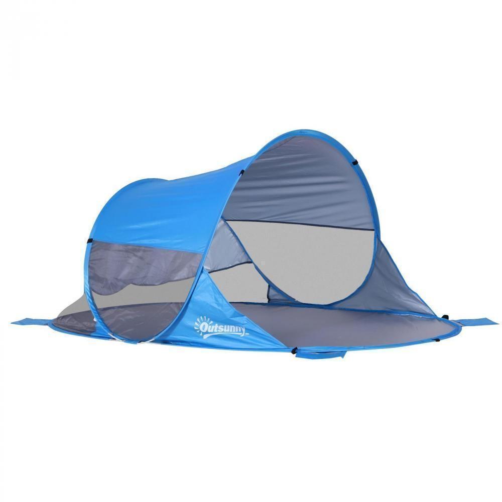 Abri De Plage Tente De Plage Pliable Pop-Up Automatique Instantané  Protection Uv Fenêtre Arrière Grand Tapis De Sol Bleu Ciel tout Hamac Chat Fenêtre Gifi