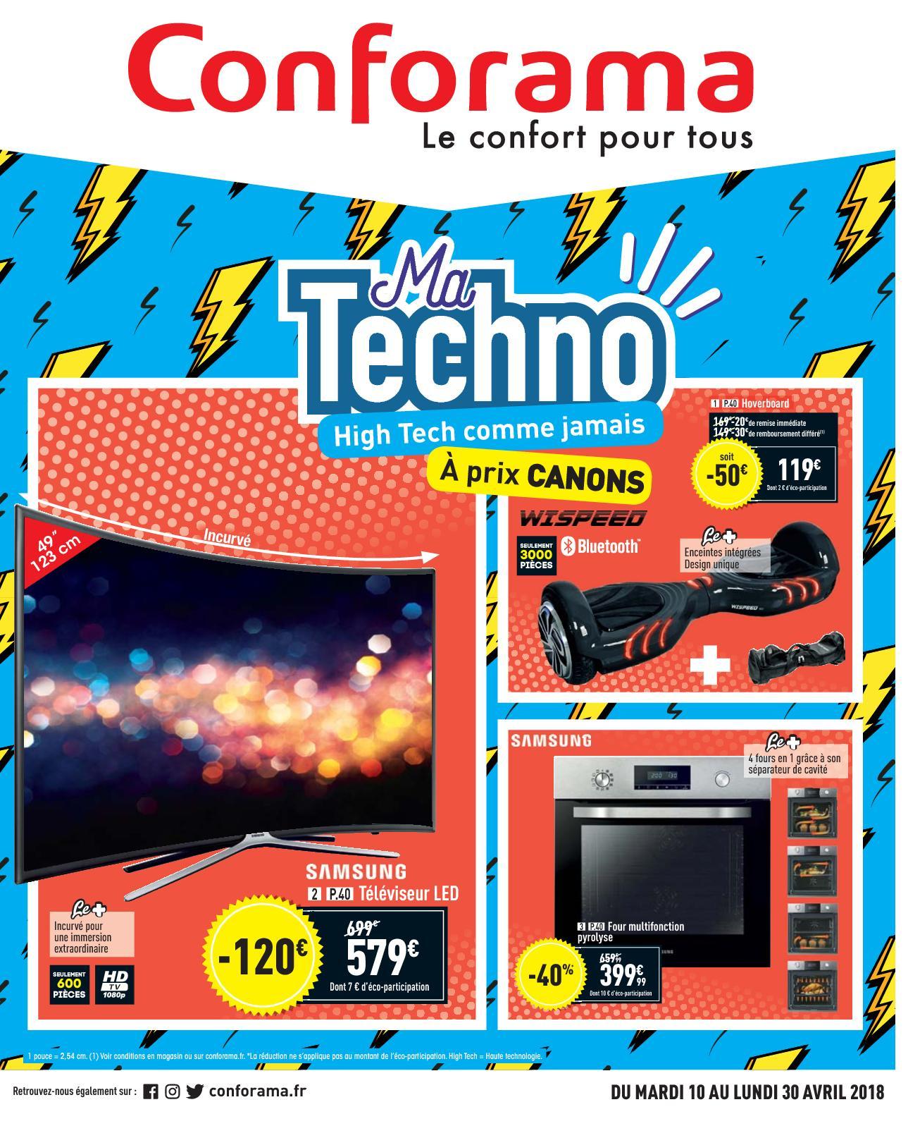 Calaméo - Catalogue Conforama Avril 2018 Techno avec Meuble Tv Avec Enceinte Integre Conforama