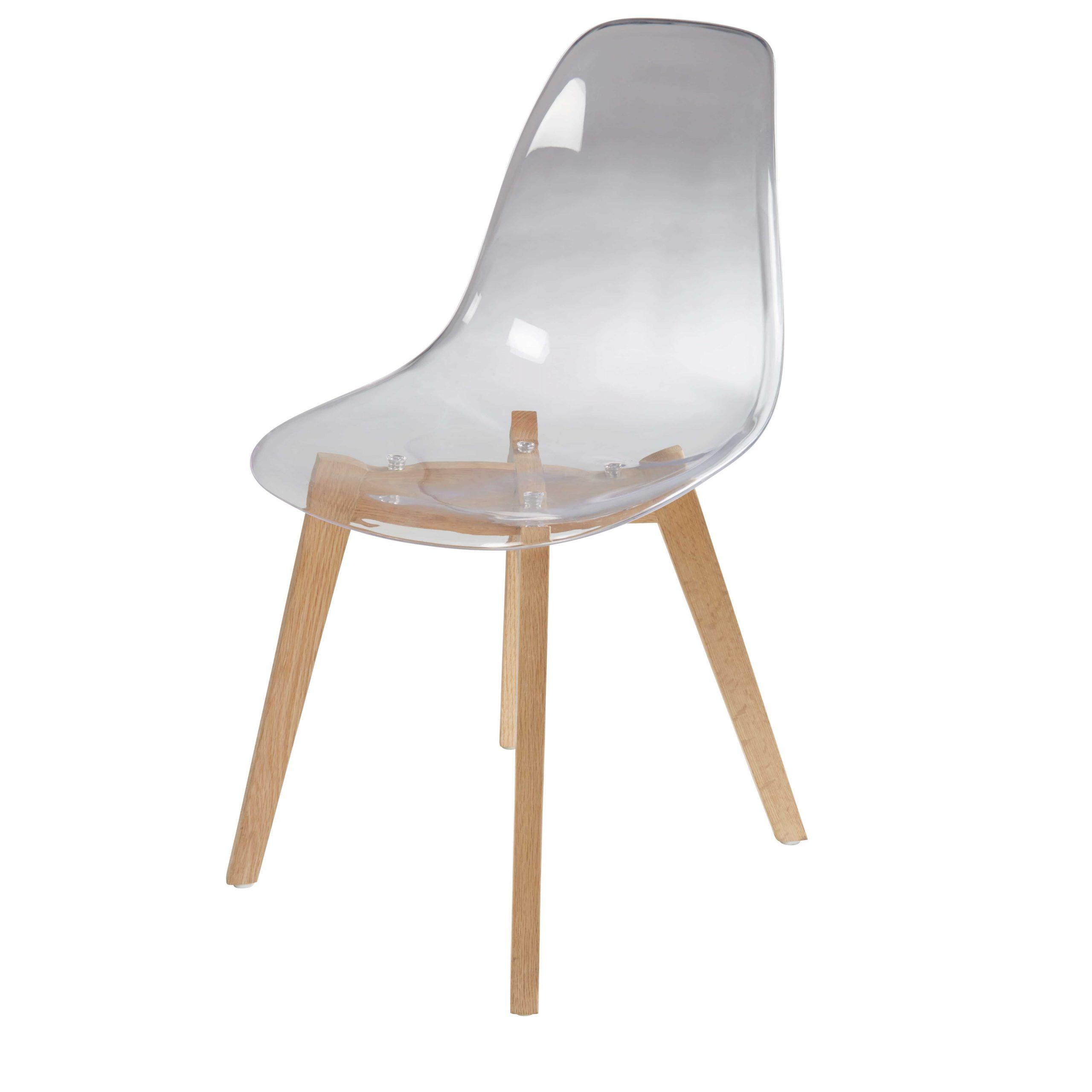 Chaise Transparente Et Chêne Ice | Chaise Style Scandinave intérieur Chaises Transparentes Castorama