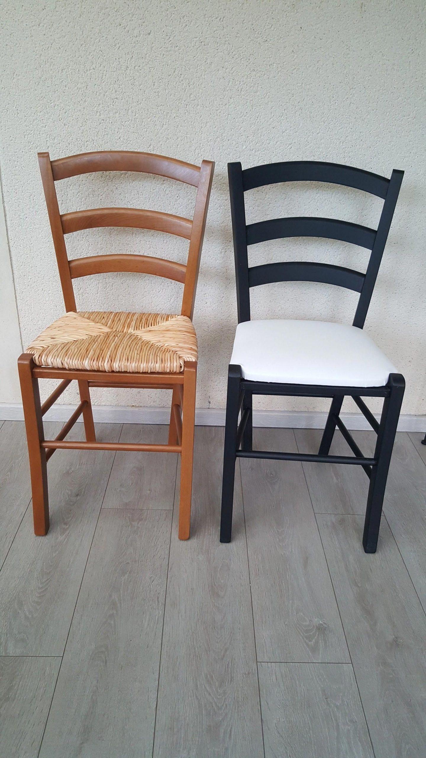 Chaises Paille Peintes Assise En Skaï #Idéebricolagemaison avec Chaises Transparentes Castorama