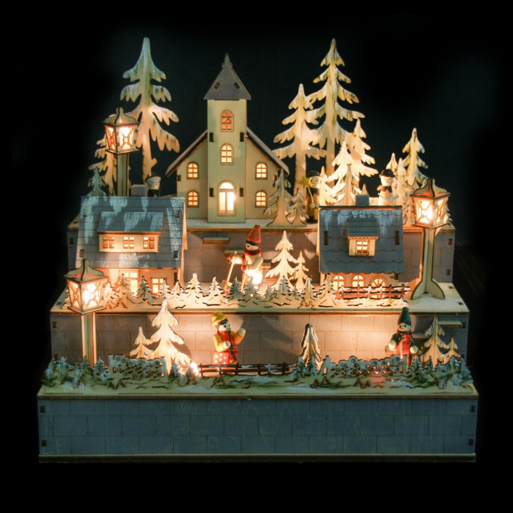 Décoration De Noël Village En Bois Enneigé Avec Led - Autres destiné Bricorama Deco