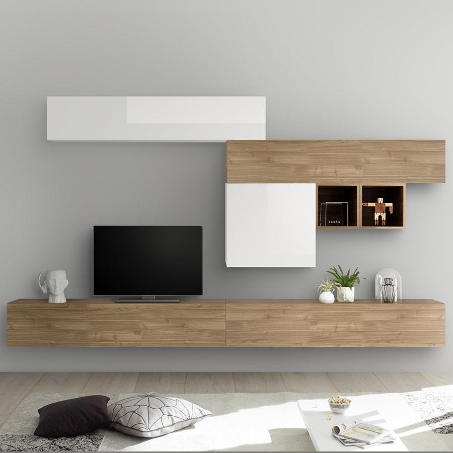 Ensemble Meuble Tv Blanc Laqué Et Couleur Chêne Galatina à Meuble Tv 300 Cm Conforama