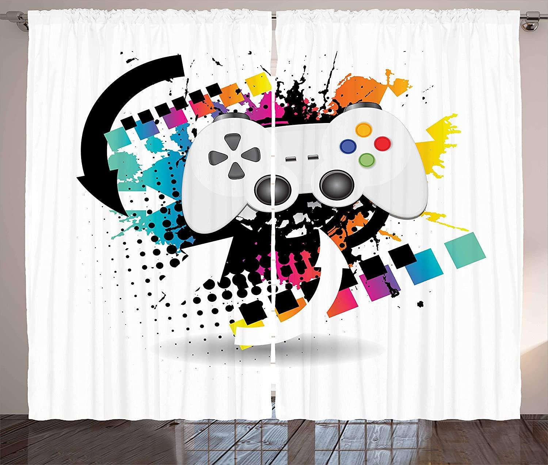 Gamer Rideaux Moderne Console Contrôleur De Jeu Avec Motif En Demi-Teinte  Et Couleur Éclaboussures Fond Salon Chambre Fenêtre Drapé intérieur Rideaux Gamer