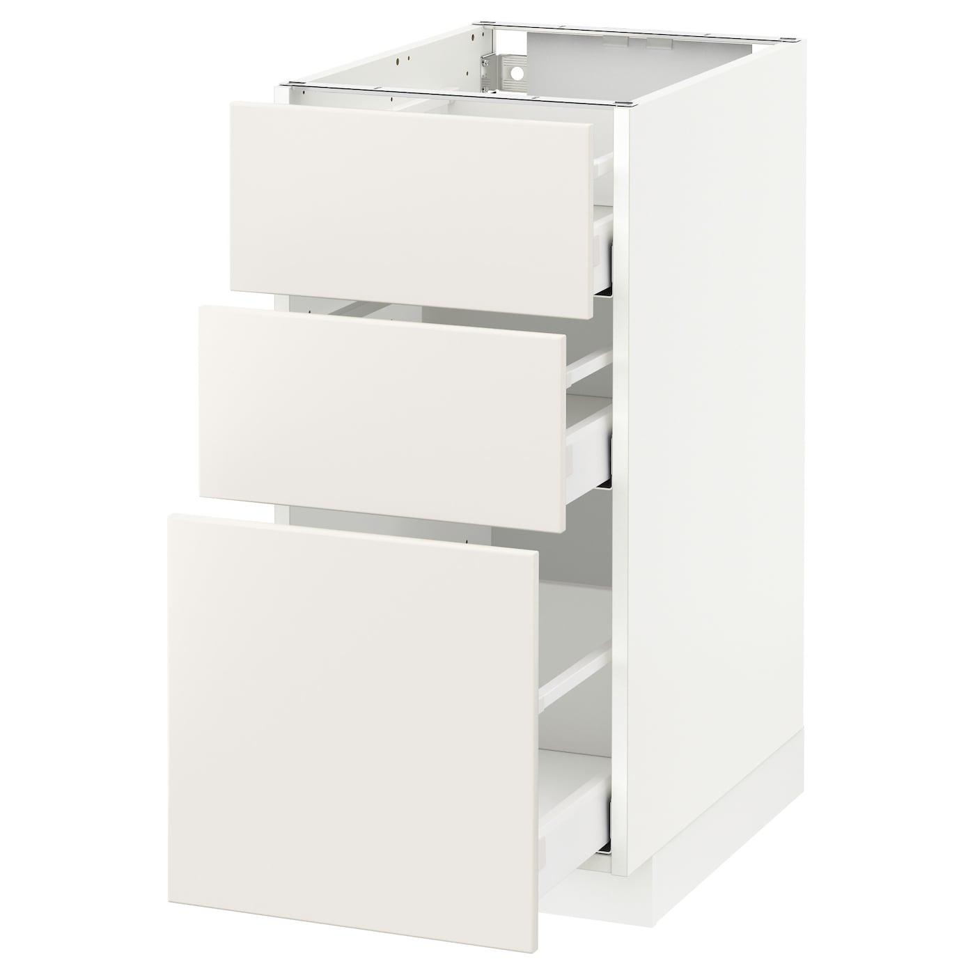 Metod / Maximera Élément Bas 3 Tiroirs - Blanc/Veddinge Blanc 40X60 Cm tout Meuble Bas Cuisine 50 Cm Largeur Ikea