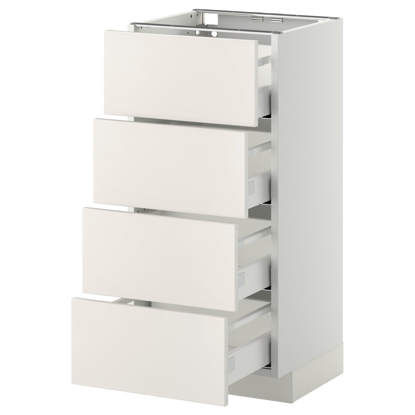 Metod / Maximera Élément Bas 4 Faces/4 Tiroirs - Blanc/Veddinge Blanc 40X37  Cm tout Meuble Bas Cuisine 50 Cm Largeur Ikea