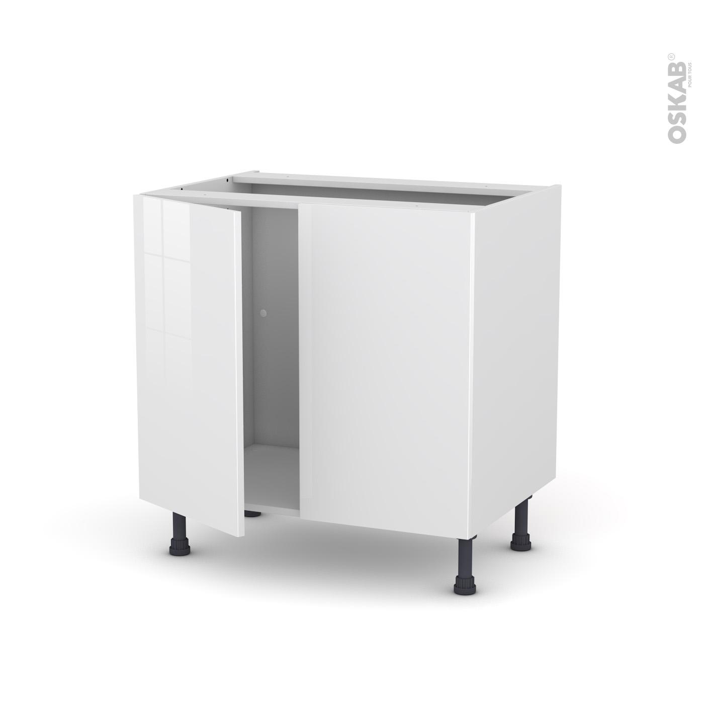 Meuble De Cuisine Sous Évier Bora Blanc, 2 Portes, L80 X H70 X P58 Cm encequiconcerne Meuble Sous Évier 100 Cm Ikea